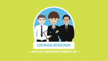 three smartly dressed animated characters stood in a line with the words continuous improvement and workplace organisation techniques in white writing below on a lime green background
