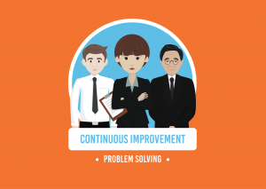 three smartly dressed animated characters stood in a line with the words continuous improvement and problem solving in white writing below on a orange background