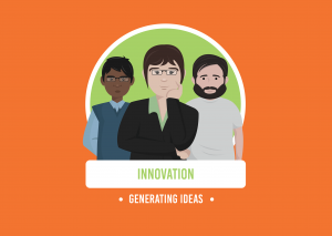 three casually dressed animated characters stood in a line with the words innovation and generating ideas in green and white writing below on a orange background