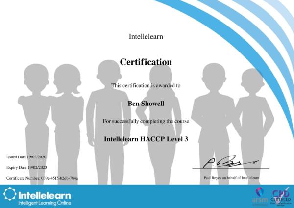 Intellelearn Certificate for HACCP Level 3
