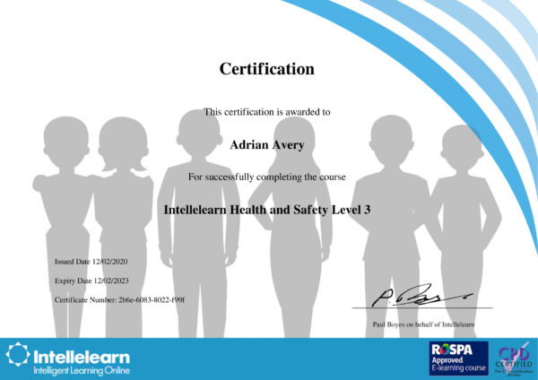 Intellelearn Certificate for Health and Safety Level 3