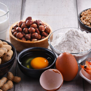 Allergens such as dairy, nuts, egg and shellfish