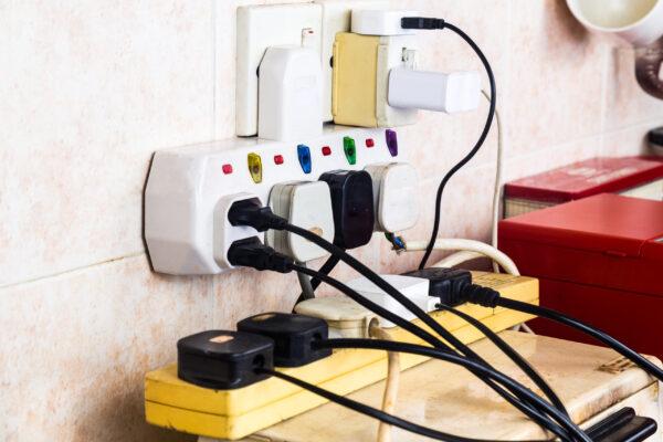 Overloaded plug socket in office