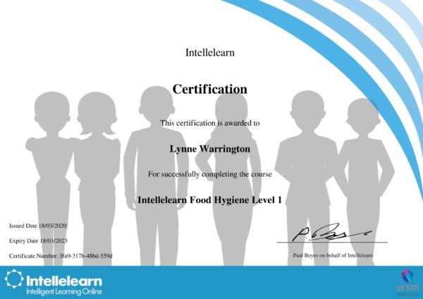 Intellelearn Certificate for Food Hygiene Level 1