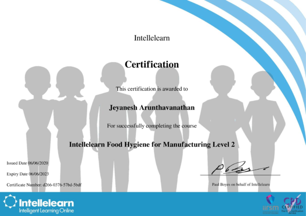 Intellelearn Certificate for Food Hygiene for Manufacturing Level 2