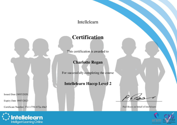 Intellelearn Certificate for HACCP Level 2